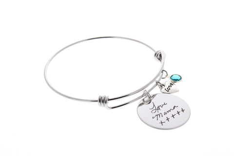 Handwriting Bangle Bracelet (Swarovski Birthstone & Love Charm)