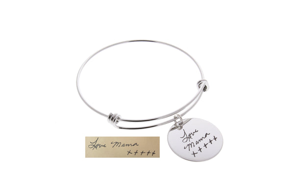 Handwriting Bangle Bracelet (Optional Swarovski Birthstone)