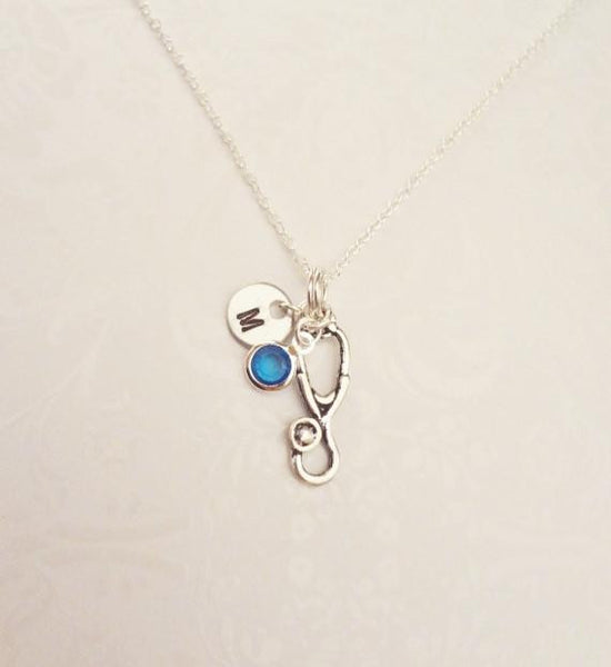 Stethoscope Necklace With Initial & Swarovski Birthstone - Anomaly Creations & Designs  - 1