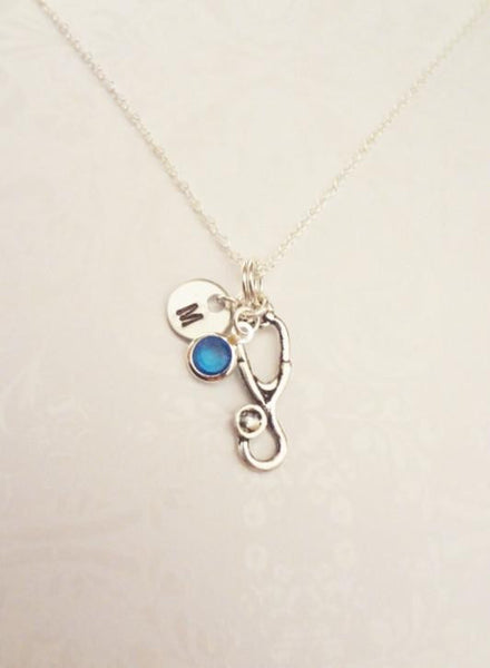 Stethoscope Necklace With Initial & Swarovski Birthstone - Anomaly Creations & Designs  - 3