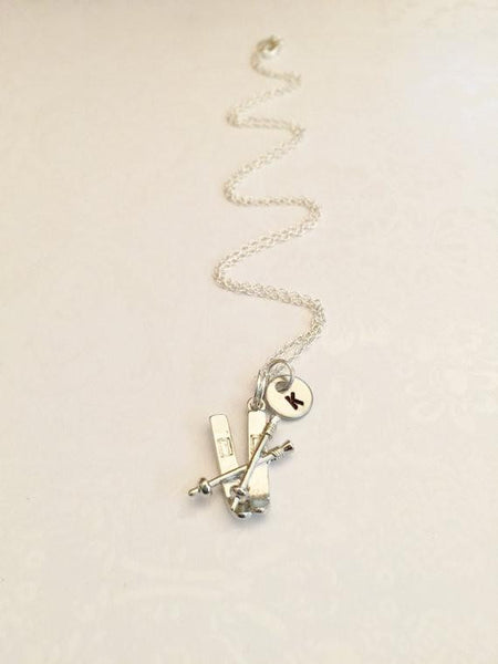 Skiing Necklace with an Initial - Anomaly Creations & Designs