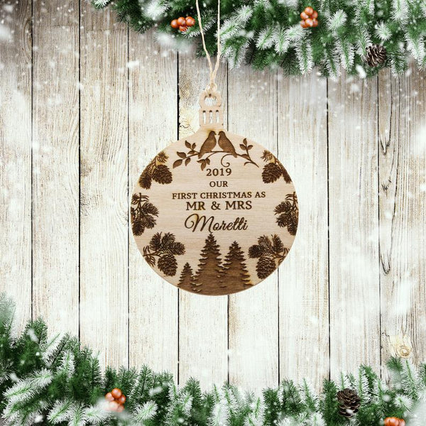 Wood Ornament - Our First Christmas