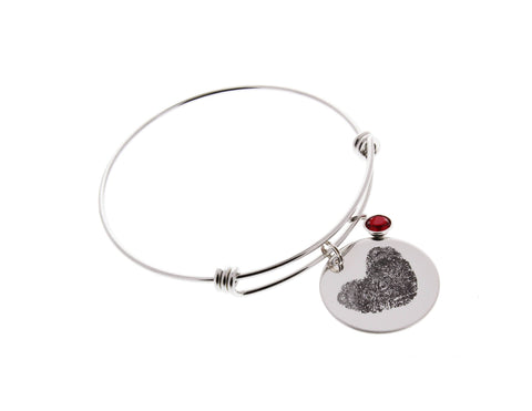 Fingerprints Bangle Bracelet with Swarovski Birthstone