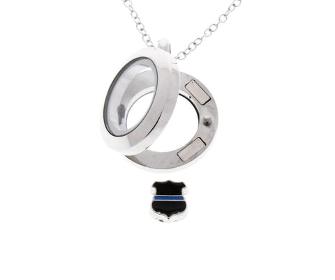 Thin Blue Line Badge - Floating Locket Necklace