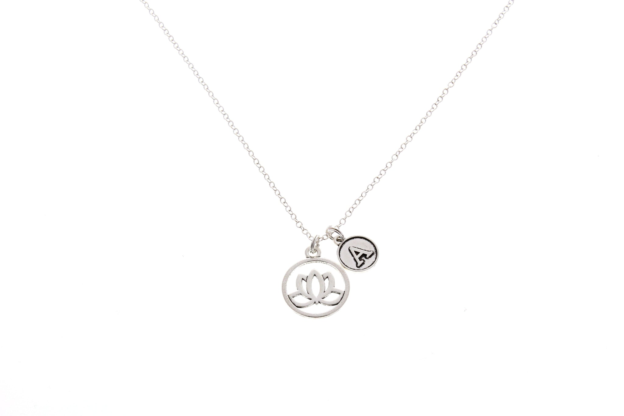 Lotus Flower Necklace with Initial Charm
