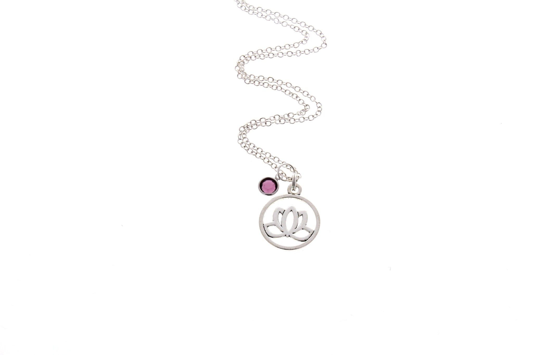 Lotus Flower Necklace (With Swarovski Birthstone)
