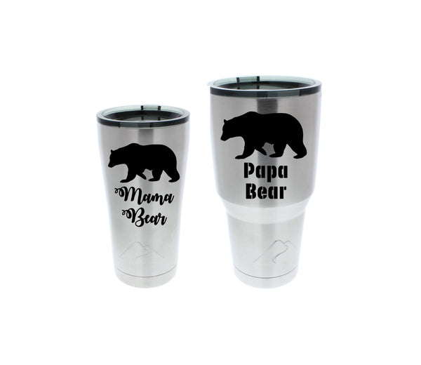 mama and papa bear stainless steel tumbler