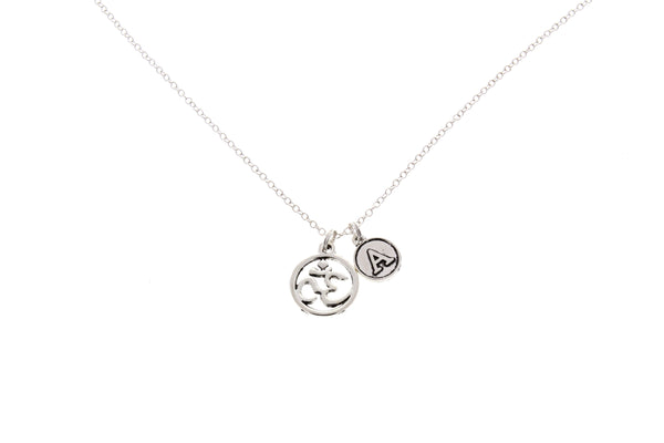 Om Necklace with Initial Charm