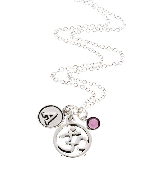 Om Necklace (With Birthstone & Initial)