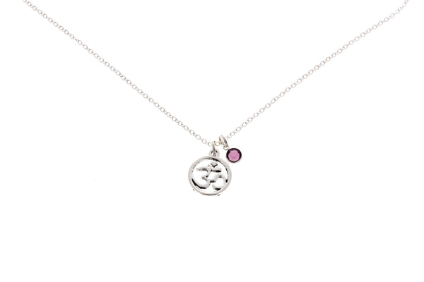 Om Necklace (With Swarovski Birthstone)