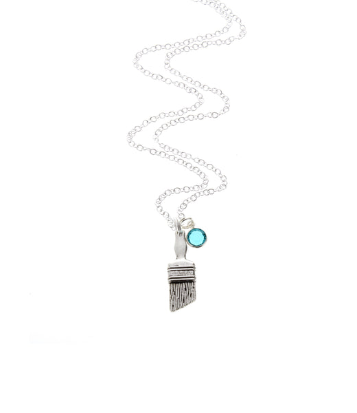 Paintbrush Necklace with Swarovski Birthstone