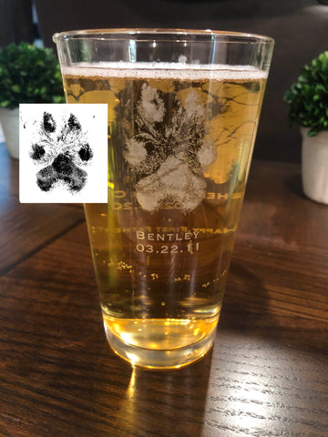 Actual Paw Print Drinking Glass