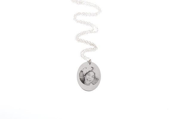 Personalized Photograph Necklace with Initial Charm