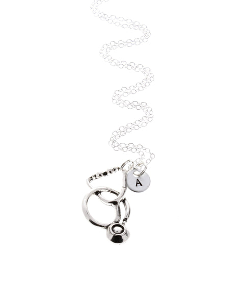 Stethoscope Necklace With Initial