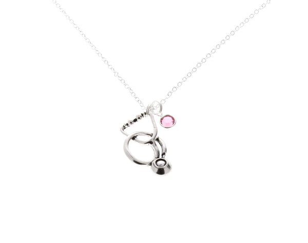 Stethoscope Necklace with Swarovski Birthstone