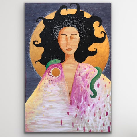 A painting of a woman with wild black hair and her eyes closed. There is a green sleeping snake draped over her shoulders. Behind her is a full, golden moon on a dark blue background.