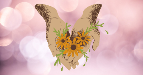 An illustration of two hands holding orange flowers. The background is pink with circles of lights.