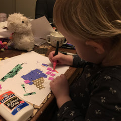 My daughter making art