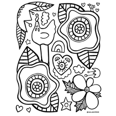 free coloring page chickens and flowers by Becky Dawson onelaneroad