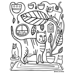 free kitty cat houseplant coloring page by Becky Dawson onelaneroad