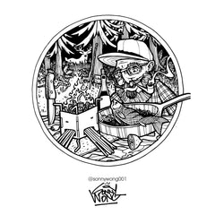 free coloring page camping campfire Sonny Wong