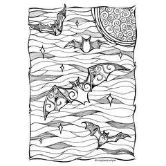 free coloring page bats by Daun Knight