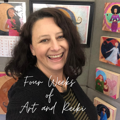 "Text reads ""Four Weeks of Art and Reiki"" with a photo of artist Lea K. Tawd smiling in front of her artwork"