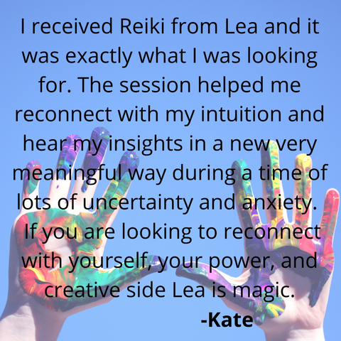 Testimonial for reiki sessions with Lea K. Tawd