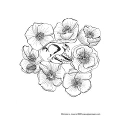 skull poppies free coloring page Kirsten Moore