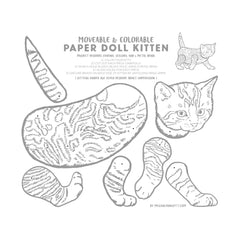 adorable kitty cat coloring activity page by artist Megan Lynn Kott