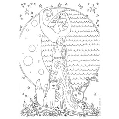 free coloring page goddess moon fox