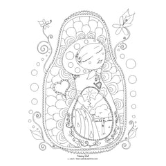 free coloring page nesting doll