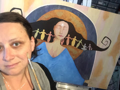 Portland artist Lea K. Tawd with a painting in progress