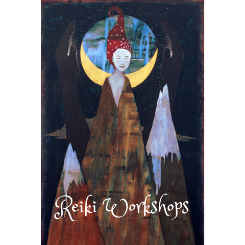 """Painting by Lea K. Tawd depicting 3 mountaintops--the one in the middle has a woman's face at the top.  Behind her is a crescent moon and two dark hands barely visible in the night sky, with white dots surrounding them.  Below is text reading, """"Reiki Workshops."""""""