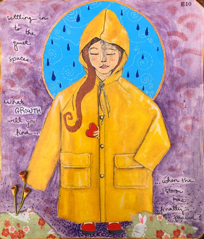 artwork portraying a young girl in an oversized yellow rain jacket