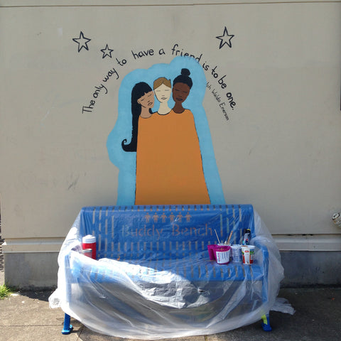 work in progress friendship mural at buckman elemetary buddy bench portland, or