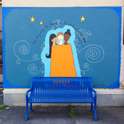 Friendship Mural behind Buddy Bench by Portland, OR artist Lea K. Tawd