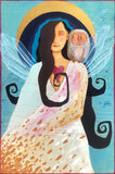 painting of a woman with long dark hair and crystaline wings.  She is wearing a white gown with gold markings.  She has a heart symbol on her chest.  On her left shoulder is an owl.  Behind them is a crescent moon and fields of blue with circular markings.