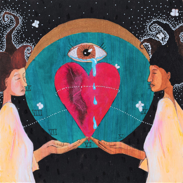 painting of two women, one black and one white, holding out their hands. Balanced on their fingertips is a giant heart, with an eye hovering above it. The eye is crying and the tears are dripping down in front of the heart. In the background is a blue circle with Roman numerals on it like a clock, and a crescent moon at the top. In behind that is a black field with black and white details and fluttering white moths.