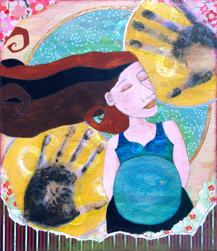 painting of a pregnant woman with dark hair and a blue shirt. Behind her are yellow circles with handprints in them and collaged paper around the edges.