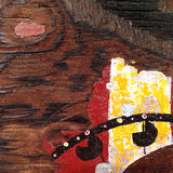detail of painting on distressed wood by Lea K. Tawd