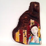 Carnival beauty painted on distressed wood by Lea K. Tawd