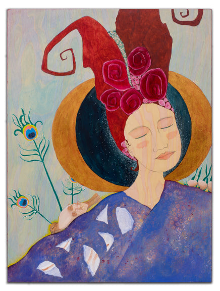 whimsical red haired lady in lavender gown with two crescent moons behind her head bird eggs on her left shoulder and a dead bird and peacock feathers on her right shoulder