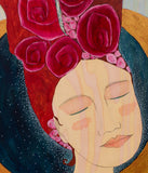 spiritual art detail beautiful woman's face with wood grain showing through and lovely whimsical hair with little pink flowers