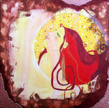 mixed media painting of a woman with red flowing hair on a yellow patterned background with earth toned textured around the edges