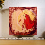 "8 x 8"" painting of red haired woman by Lea K. Tawd"