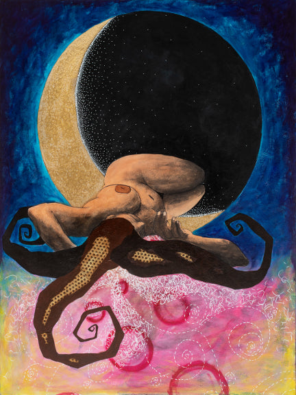 painting of a nude woman sleeping suspended in a crescent moon and abstract blue, red and yellow background by Portland artist Lea K. Tawd