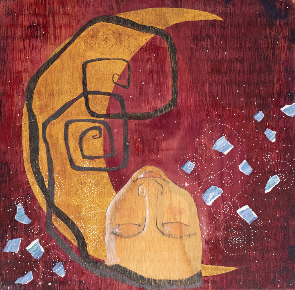 painting on wood of woman with her head back, chin in the air.  The background is mixed media gold crescent moon, violet magenta ground and collage paper with small details