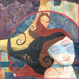 mixed media painting of a dreamy woman with flowing brown hair. The background is abstract colors--purple, red, blue, gold and a crescent moon