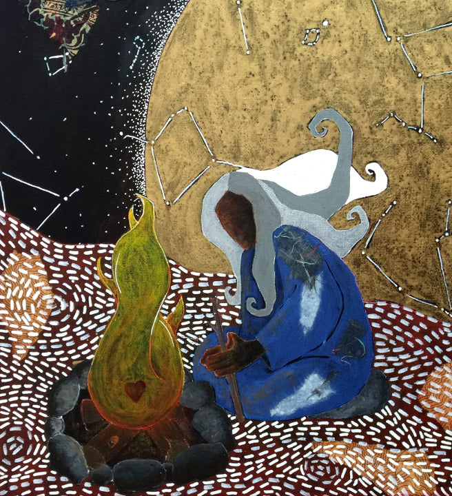 detail of spiritual artwork showing a figure kneeling over a fire with a moon and constellations behind them.  The ground of the painting is filled with decorative white markings